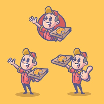 Personagem retrô de pizza deliveryman logotipo