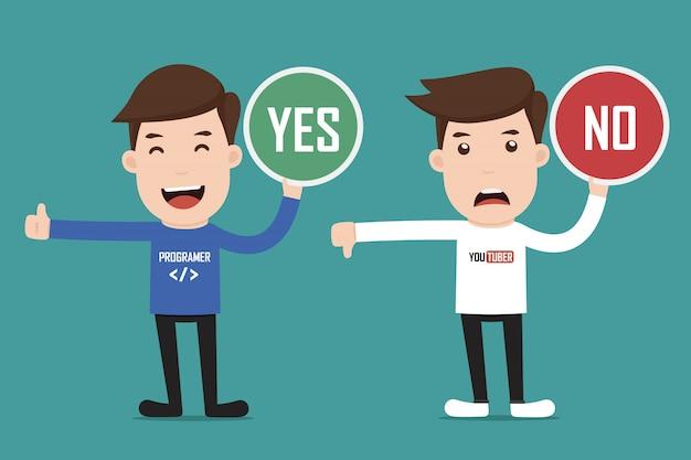 Personagem segurando sinais com sim ou não.