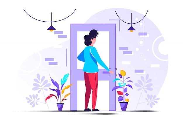 Personagem segurando uma maçaneta da porta