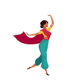 Personagem sem rosto de artista feminina indiana cor plana