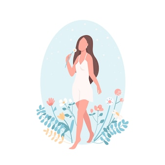 Personagem sem rosto de cor lisa feminina feliz. bem-estar e bem-estar. relaxamento de mulher. amor próprio. ilustração isolada dos desenhos animados de saúde feminina
