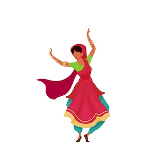 Personagem sem rosto de dançarina feminina indiana cor plana