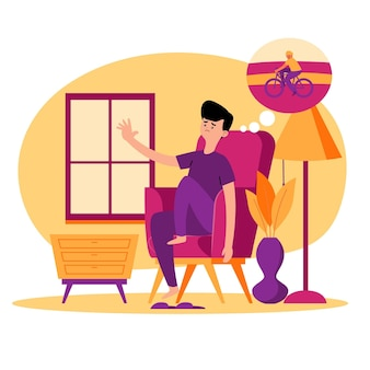 Personagem sentado na casa e pensando em bicicleta