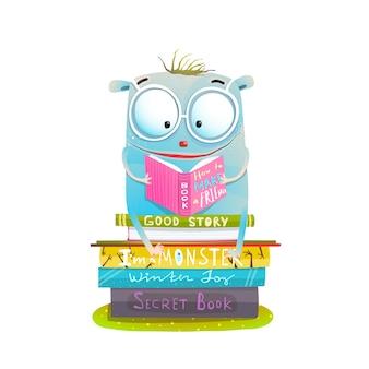 Personagem sentado na pilha de livros de leitura