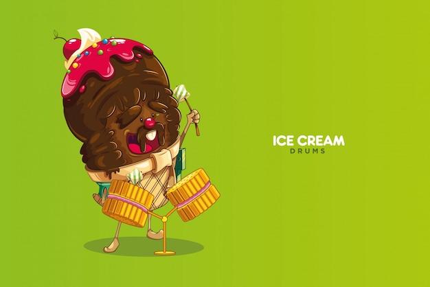 Personagem sorvete que joga biscoitos com marshmallows