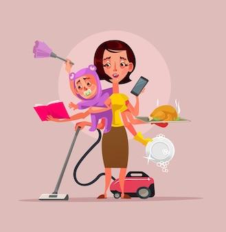 Personagem supermãe multitarefa segurando papinha de bebê e limpando assuntos da casa, ilustração plana dos desenhos animados