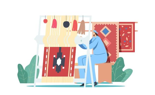 Personagem tecelã oriental em roupas tradicionais trabalhando em um tapete para fazer teares manuais