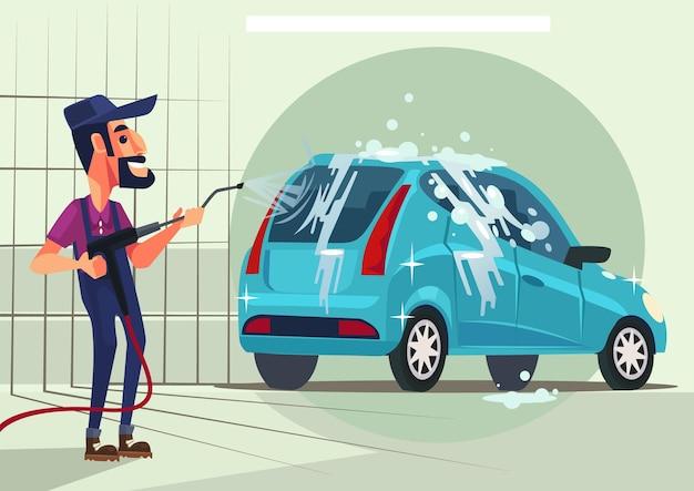 Personagem trabalhador lavando carro ilustração plana dos desenhos animados