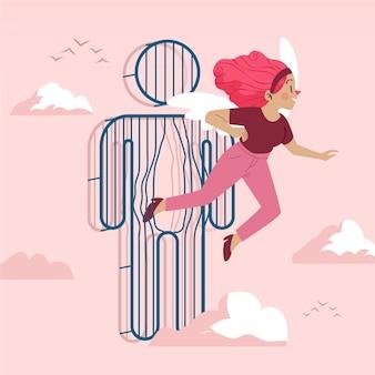 Personagem transexual de desenho animado ilustrado