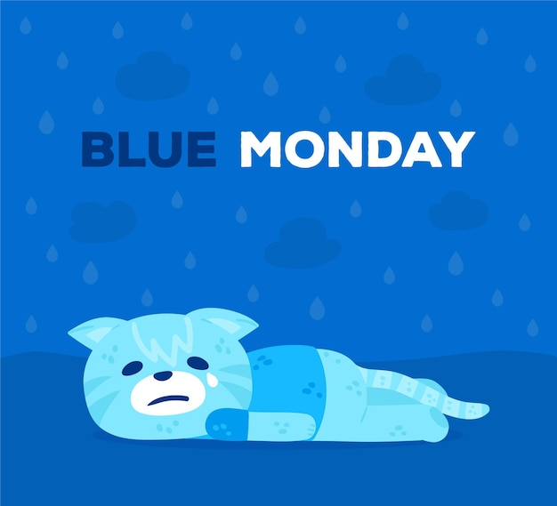 Personagem triste na segunda-feira azul