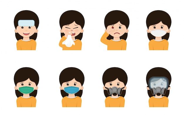 Personagem usando máscara em diferentes ações