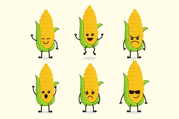 Personagem vegetal de milho bonito isolada em várias expressões