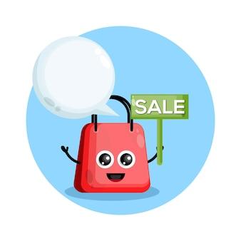 Personagem venda de sacolas de compras fofo Vetor Premium