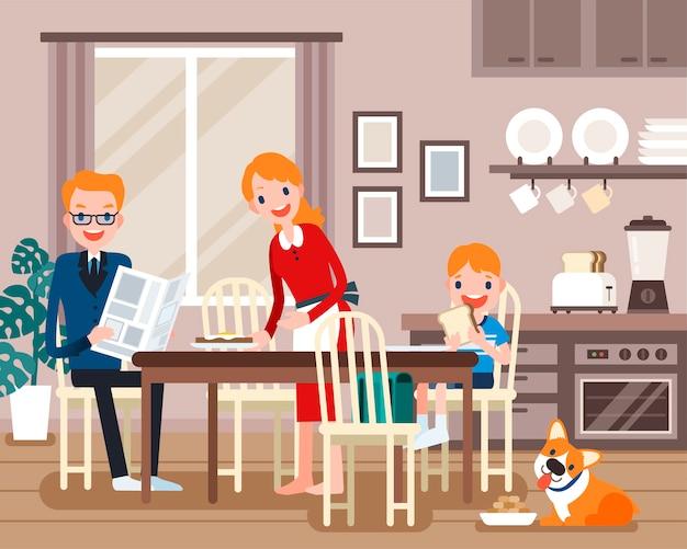 Personagens adoráveis da família, família tomando café da manhã juntos em