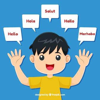 Personagens adoráveis falando idiomas diferentes
