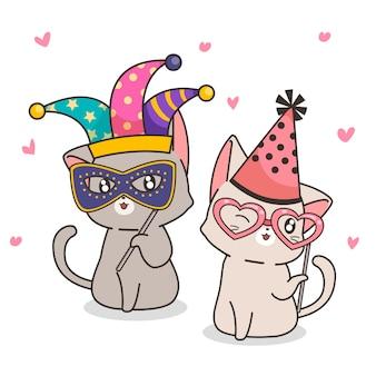 Personagens adoráveis gatos extravagantes