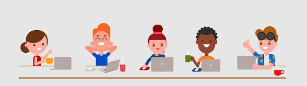 Personagens adultos jovens usando computador portátil em estilo design plano isolado. pessoas da diversidade retratam com seus laptops.