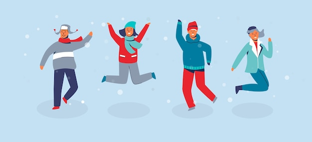 Personagens alegres, amigos pulando. pessoas com roupas quentes nas férias de inverno feliz. homem e mulher se divertindo ao ar livre.