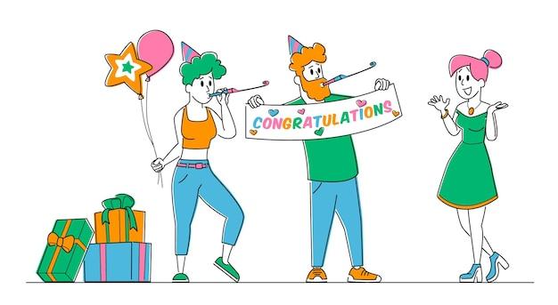 Personagens alegres em chapéus festivos cumprimentando menina feliz comemorando aniversário, festa surpresa.