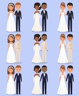 Personagens animados de noiva e noivo. ilustração.