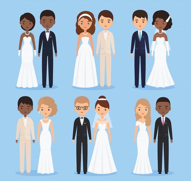Personagens animados de noiva e noivo.