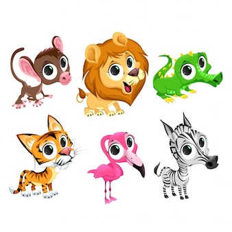 Personagens animais africanos engraçado do vetor dos desenhos animados isolado