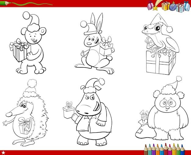 Personagens animais de desenho animado na página do livro para colorir de natal