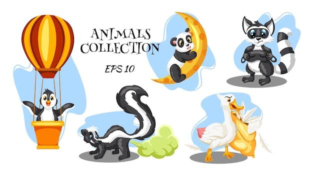 Personagens animais. pinguim em um balão de ar quente. skunk com uma nuvem fedorenta. guaxinim com máscara para dormir. panda na lua. ganso com um travesseiro. desenho animado.