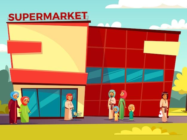 Personagens árabes dos desenhos animados perto do conceito de supermercado. feliz, saudita, emirados, muçulmano, família