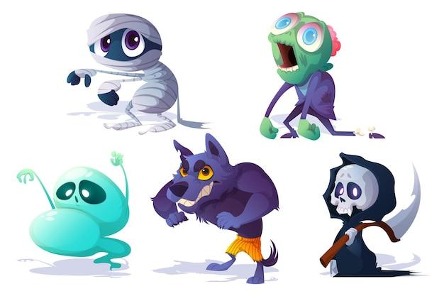 Personagens assustadores de halloween fantasma zumbi
