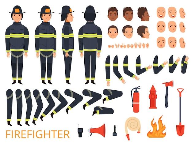 Personagens bombeiros. partes do corpo do bombeiro e uniforme especial com ferramentas profissionais combate extintor de incêndio pá machado