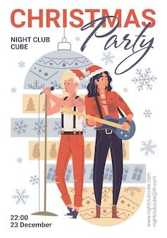 Personagens cantando, tocando violão, panfleto de festa de natal