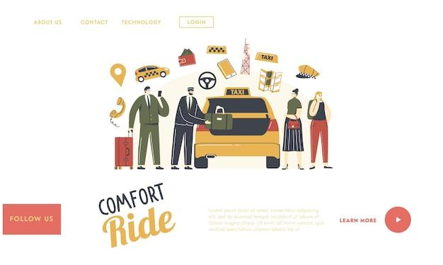 Personagens chamam modelo de página inicial de serviço de táxi.