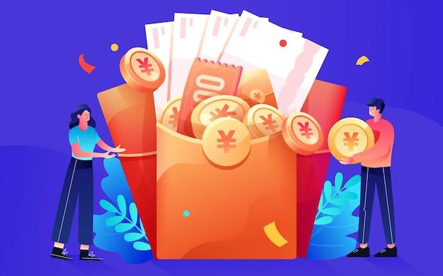 Personagens colocando moedas de ouro em envelopes vermelhos