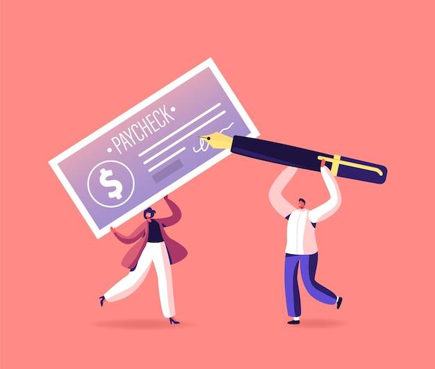 Personagens com cheque de pagamento