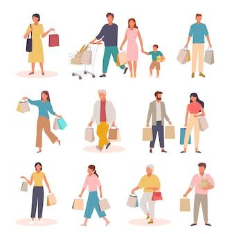 Personagens com conjunto de compras