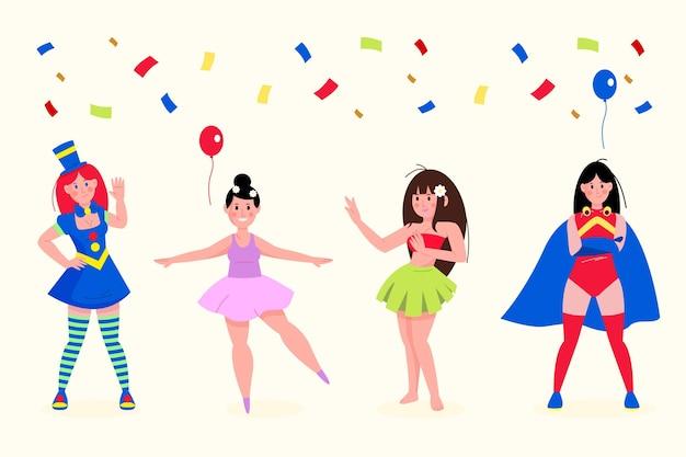 Personagens com fantasias de carnaval cercados por confetes