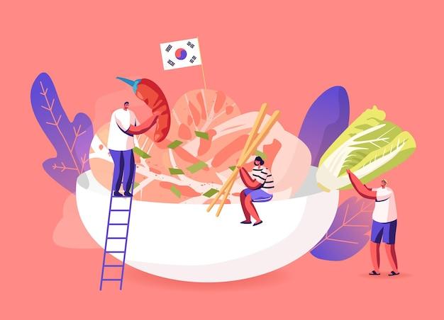 Personagens comendo ou cozinhando ilustração da culinária tradicional coreana
