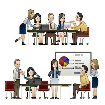 Personagens comerciais em reuniões