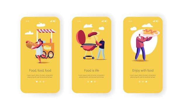 Personagens comprando modelo de tela integrada da página do aplicativo móvel street food