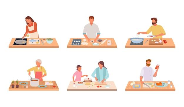 Personagens cozinham conjunto de comida