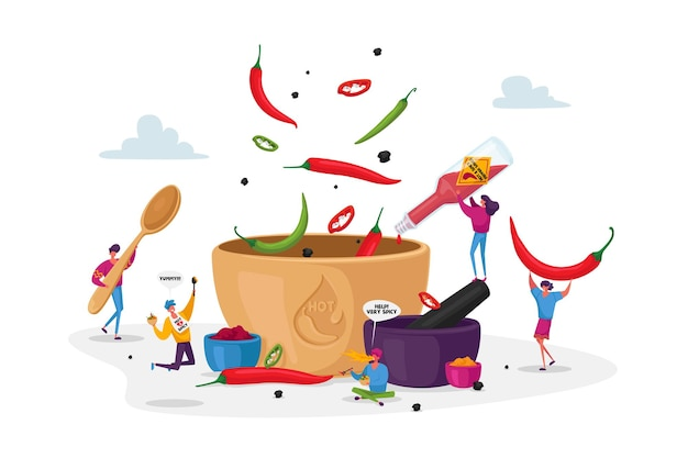Personagens cozinhando comida com pimenta-malagueta