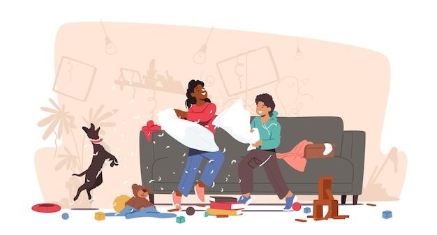 Personagens crianças hiperativas travessas brigando sobre travesseiros