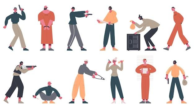 Personagens criminosos. ladrões, vigaristas e ladrões cometem crime, conjunto de prisioneiros presos em uniforme