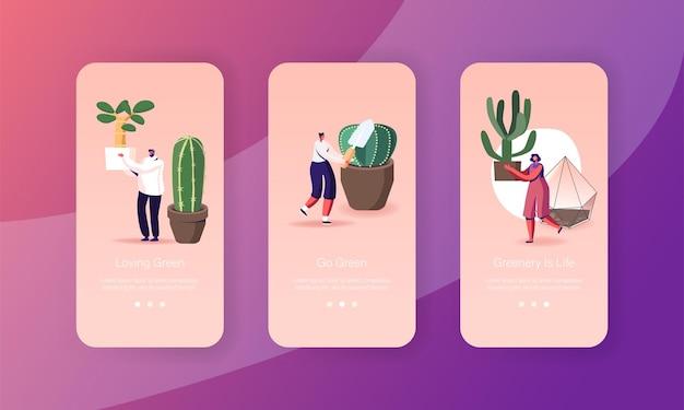 Personagens cuidando de plantas domésticas cultivam cactos e suculentas modelo de tela da página do aplicativo móvel
