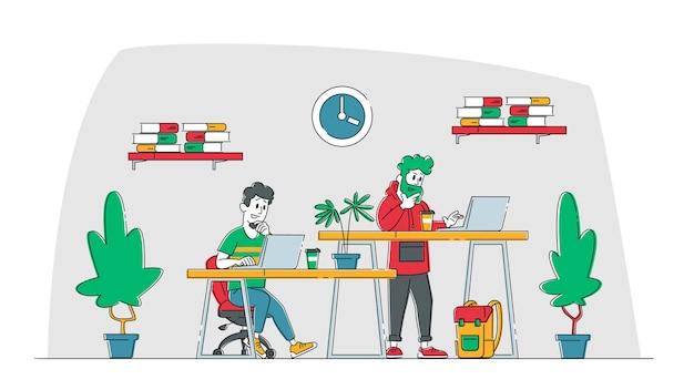 Personagens da equipe criativa fazem projeto de site ou interface da web.
