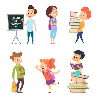 Personagens da escola. crianças masculinas e femininas vão à escola