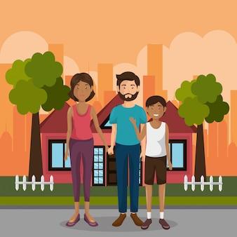 Personagens da família ao ar livre