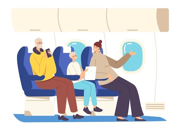 Personagens da família dentro do avião. pai, mãe e filho sentados em poltronas com gadgets se comunicam e admiram a vista da janela do airplane salon, air trip. ilustração em vetor desenho animado