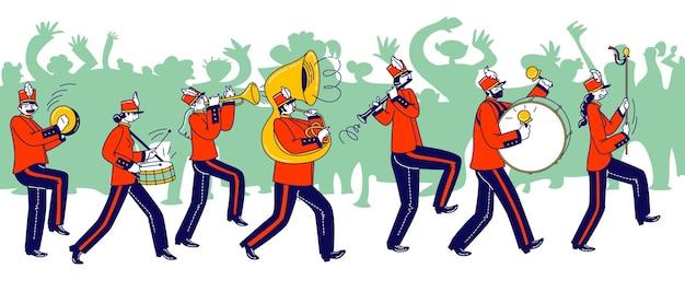 Personagens da orquestra militar vestindo uniforme vermelho festivo e chapéus